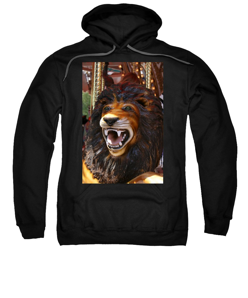 Lion Sweatshirt featuring the photograph Lion Merry Go Round Animal by Elizabeth Rose