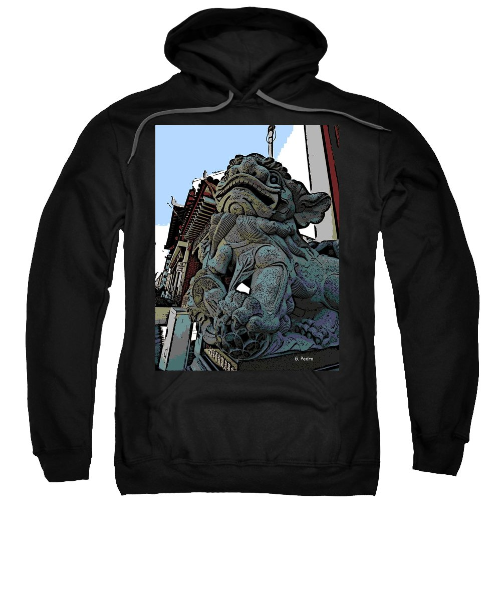 Foo Dog Sweatshirt featuring the photograph Lion Of Buddha by George Pedro