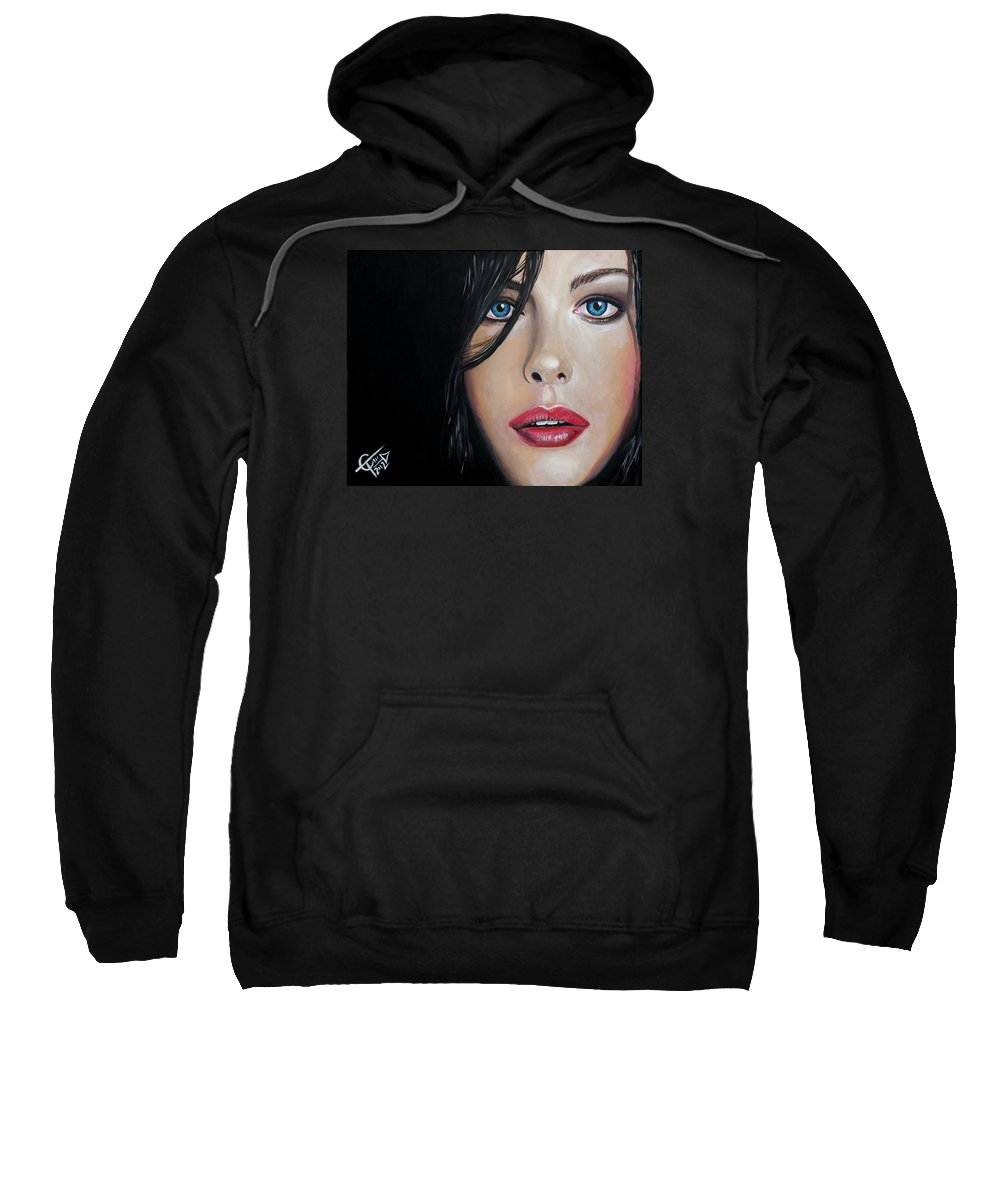 Liv Tyler Sweatshirt featuring the painting Liv Tyler by Tom Carlton