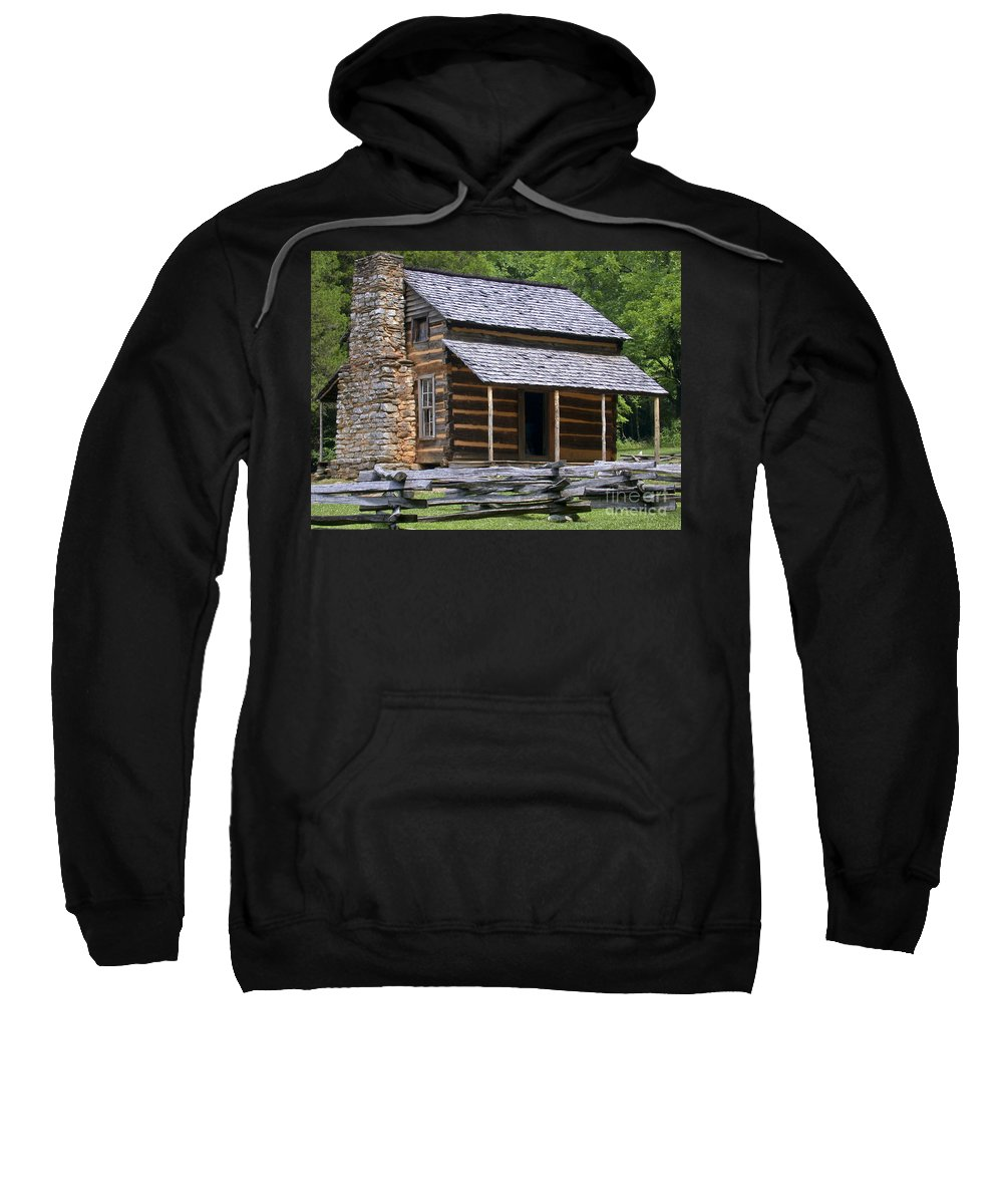 Log Cabin Sweatshirt featuring the photograph Log Cabin by Tim Mulina