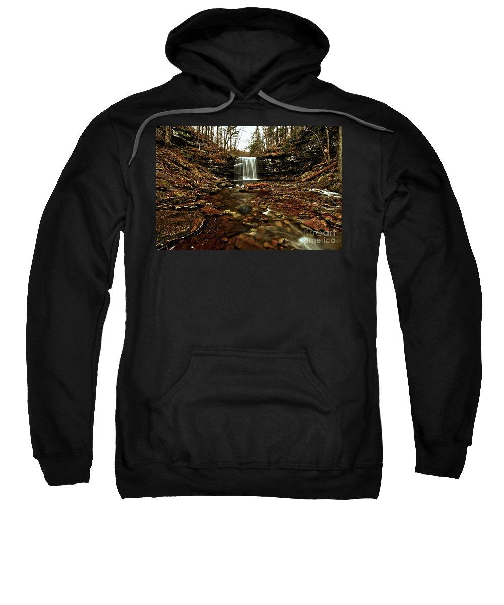 Waterfalls Sweatshirt featuring the photograph Long Canyon Waterfall by Adam Jewell