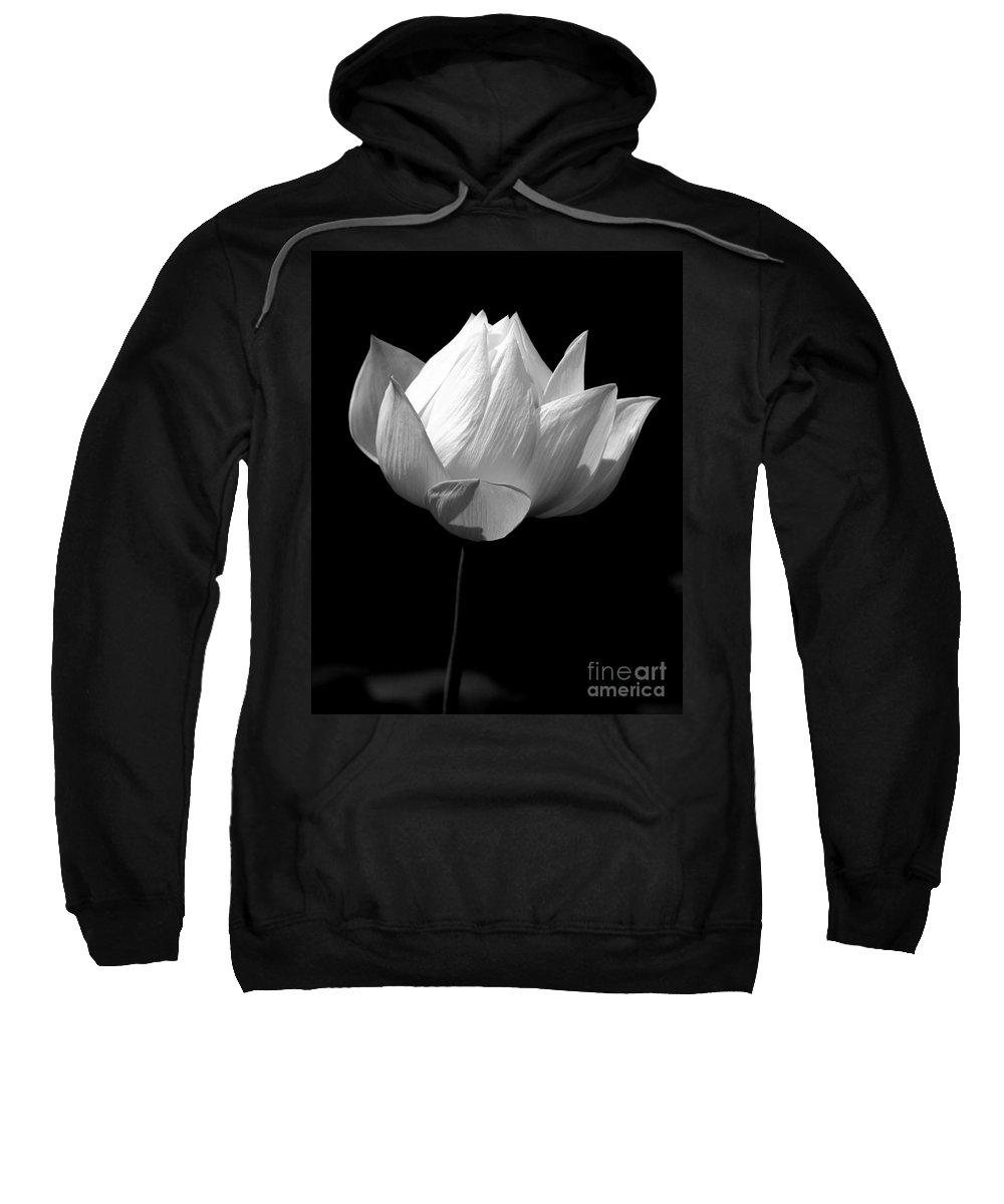 Floral Sweatshirt featuring the photograph Lotus Bw by Mark Gilman