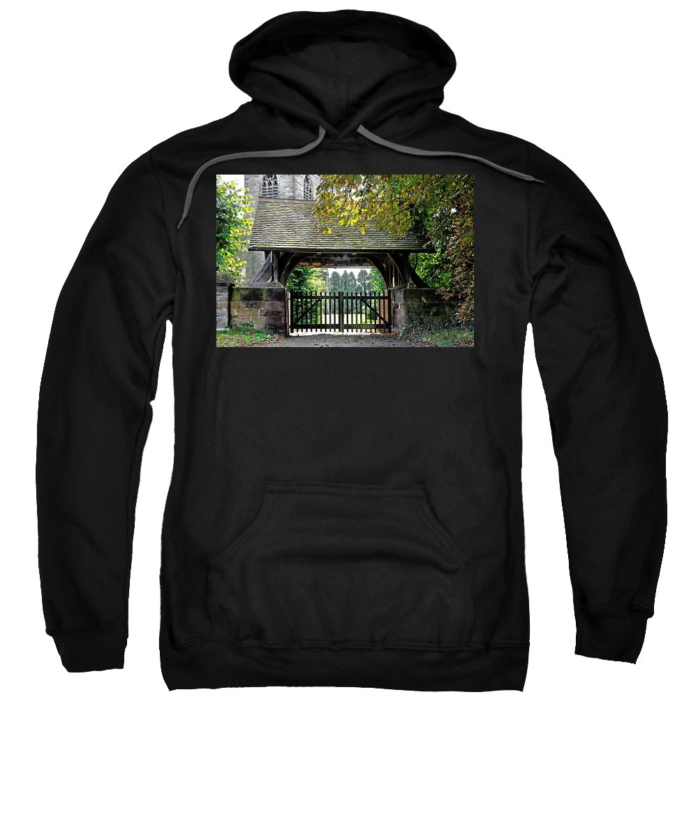 Scropton Sweatshirt featuring the photograph Lychgate To St Paul's Church - Scropton by Rod Johnson