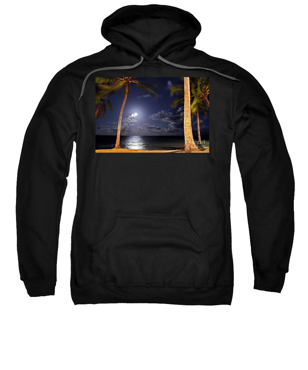 Maceio Sweatshirt featuring the photograph Maceio - Brazil - Ponta Verde Beach Under The Moonlit by Carlos Alkmin