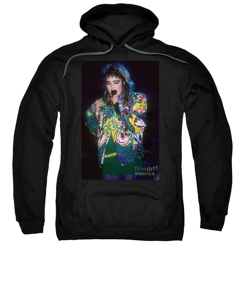 Madonna Sweatshirt featuring the photograph Madonna 1985 by David Plastik