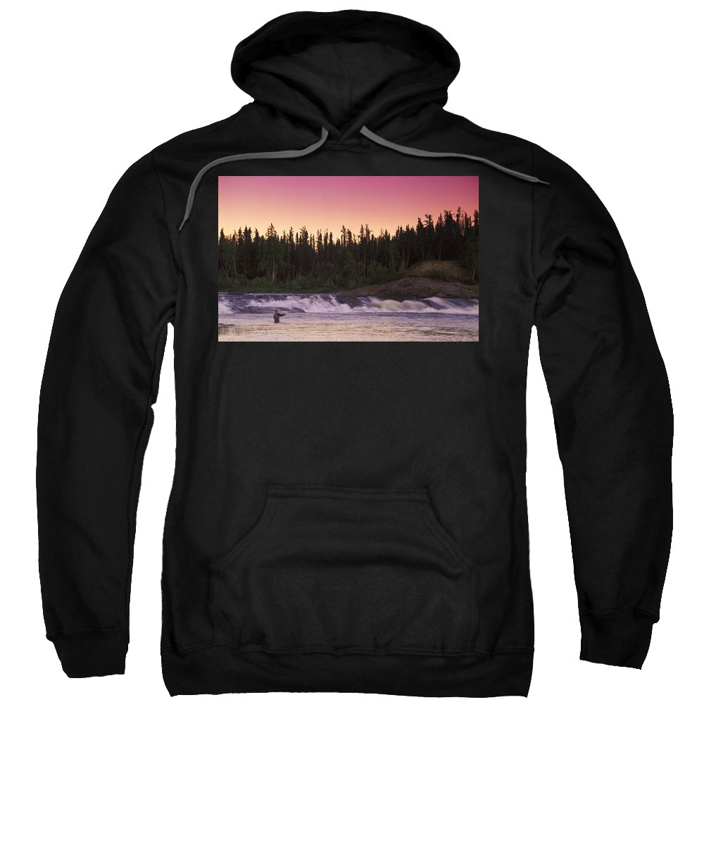 Brook Sweatshirt featuring the photograph Man Fly-fishing In River by Jason Witherspoon