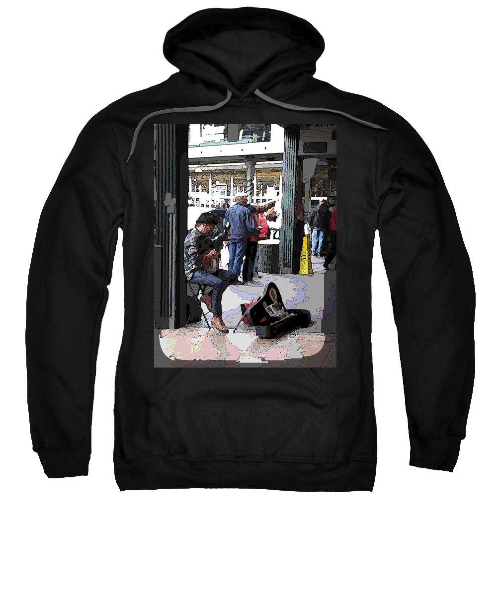 Market Sweatshirt featuring the digital art Market Busker 2 by Tim Allen