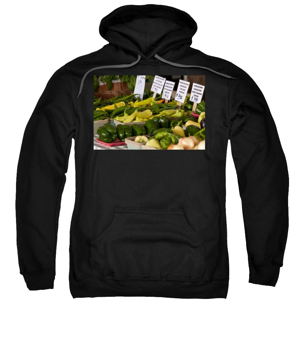 Peppers Sweatshirt featuring the photograph Market Peppers by Lauri Novak