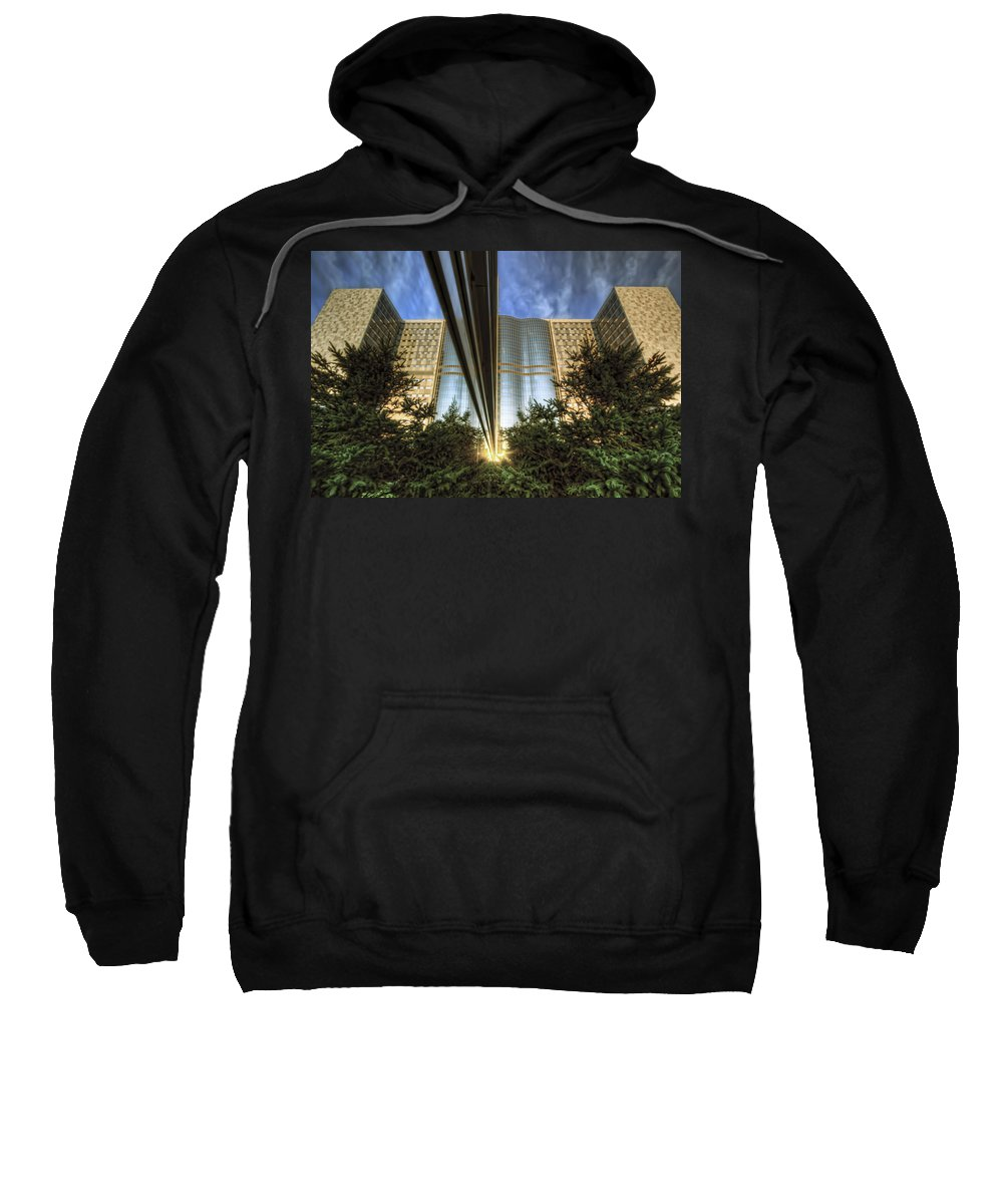 Mayo Clinic Rochester Minnesota Reflection Medical Hospital Trees Sunset Sweatshirt featuring the photograph Mayo Squared by Tom Gort