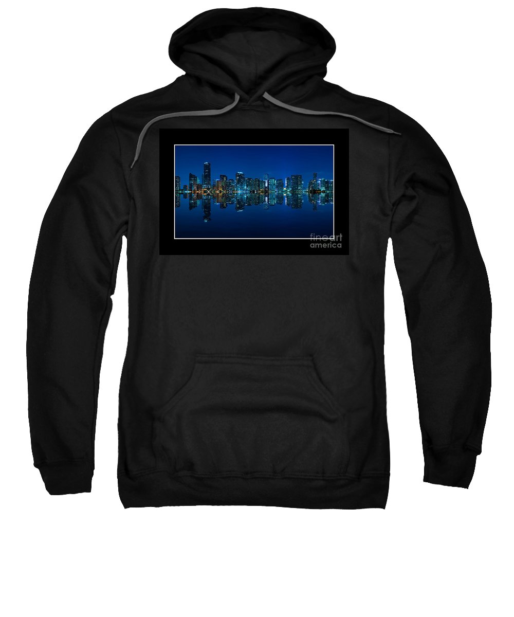 Bay Sweatshirt featuring the photograph Miami Skyline Night Panorama by Vintage Treasure