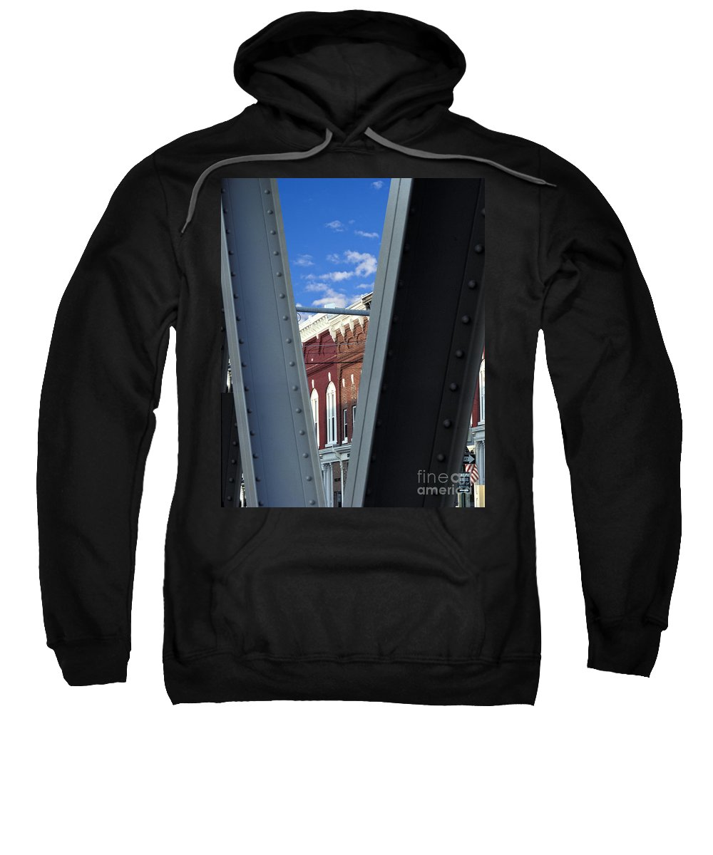 Erie Canal Small Town America Bridge Middleport Usa Americana Outside Outdoors Nobody Steel Girder V Sweatshirt featuring the photograph Middleport by Gabe Palmer