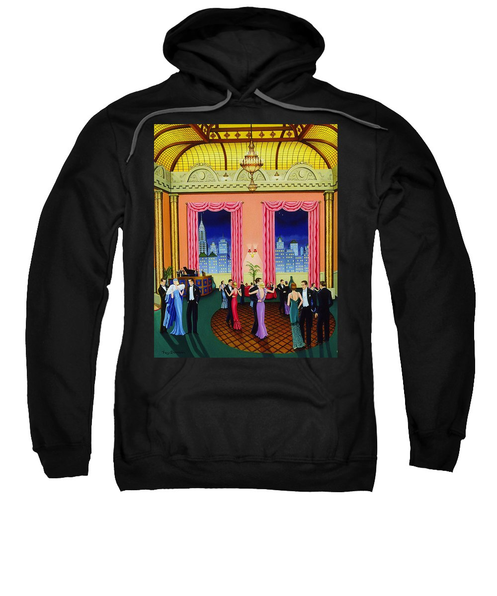 Ballroom Sweatshirt featuring the painting Midnight In Manhattan by Tracy Dennison