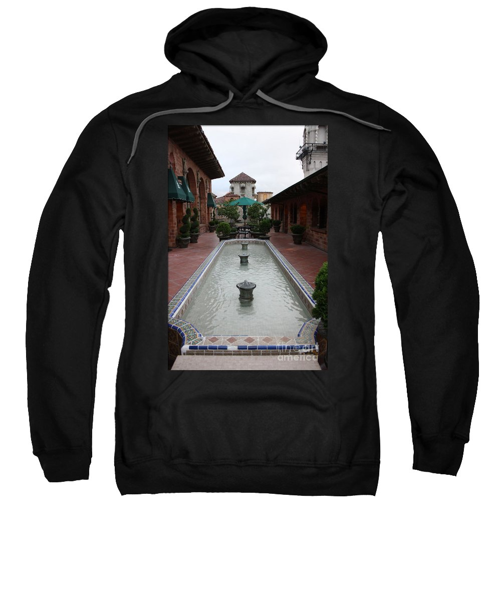 Mission Inn Sweatshirt featuring the photograph Mission Inn Roof Top Pond by Tommy Anderson