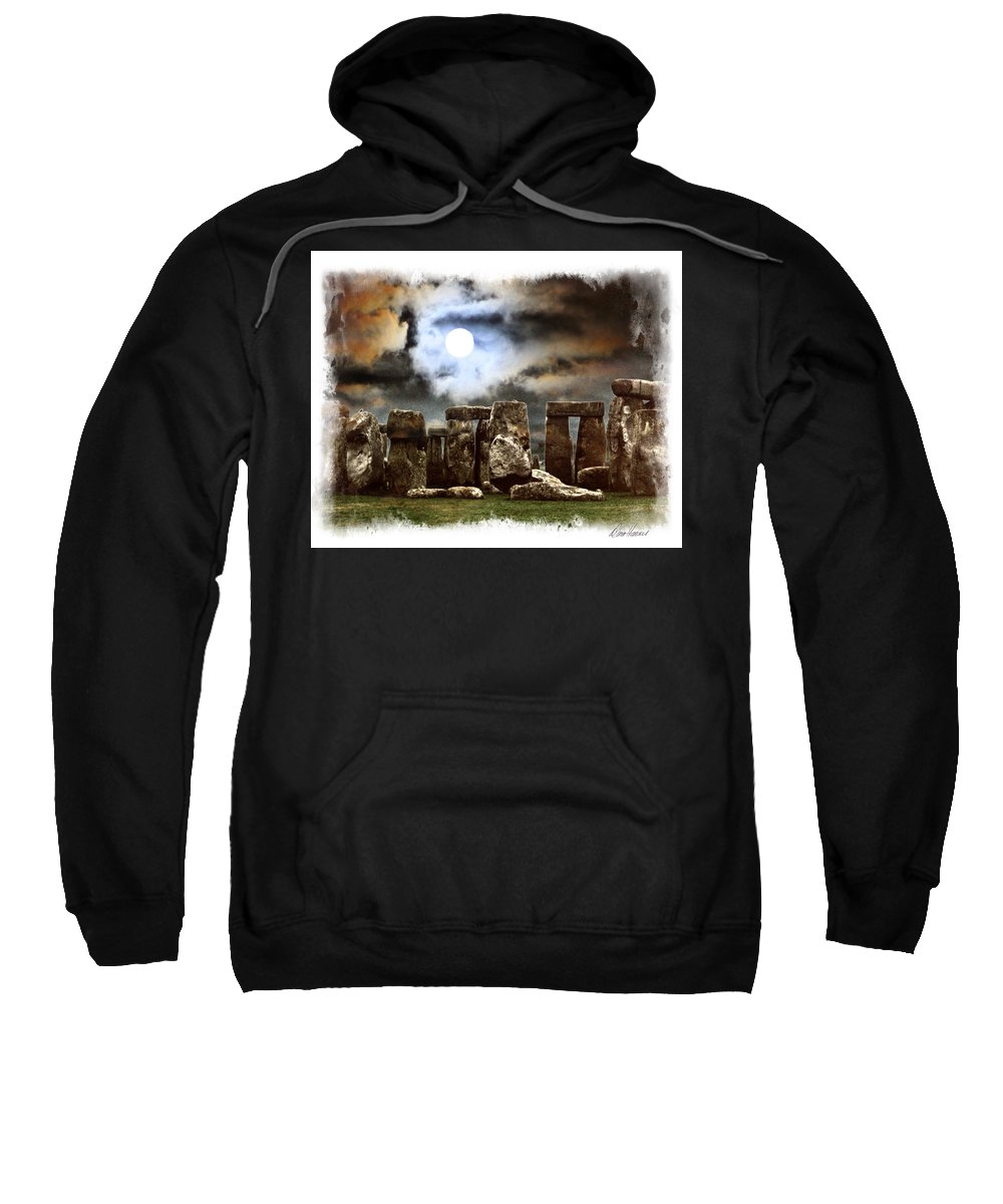 Moon Sweatshirt featuring the photograph Moon Over Stonehenge by Diana Haronis