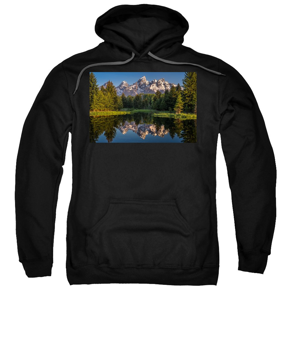 Schwabacher Landing Sweatshirt featuring the photograph Morning At Schwabacher Landing by Greg Nyquist