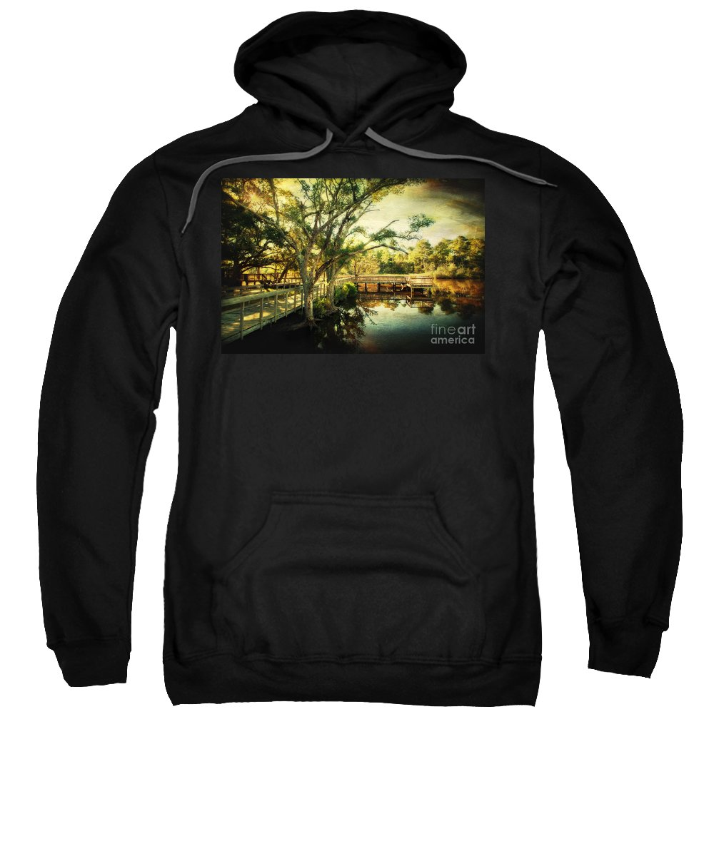 Ocean Springs Sweatshirt featuring the photograph Morning At The Harbor Park by Joan McCool