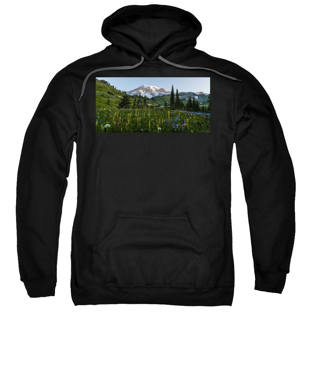 Rainier Sweatshirt featuring the photograph Morning Meadow by Mike Reid