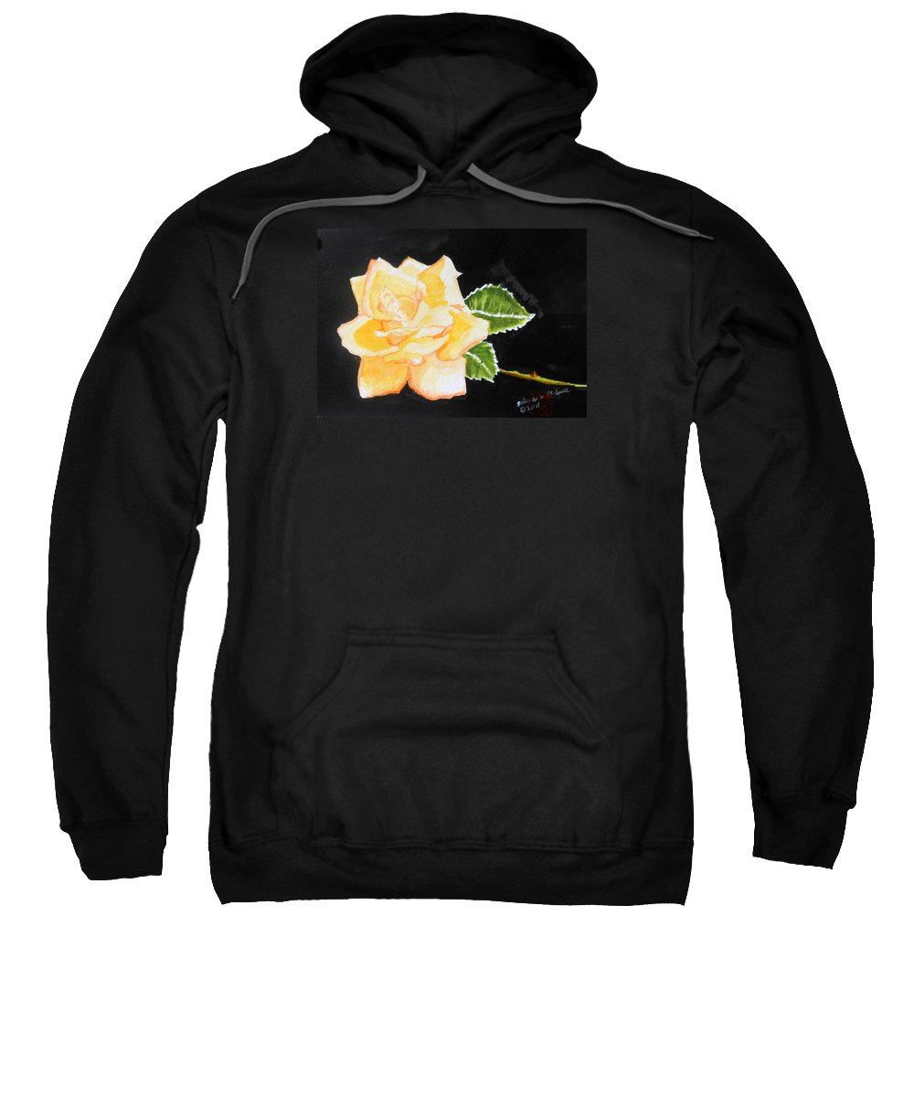 Roses Sweatshirt featuring the painting My Yellow Rose by Arlene Wright-Correll