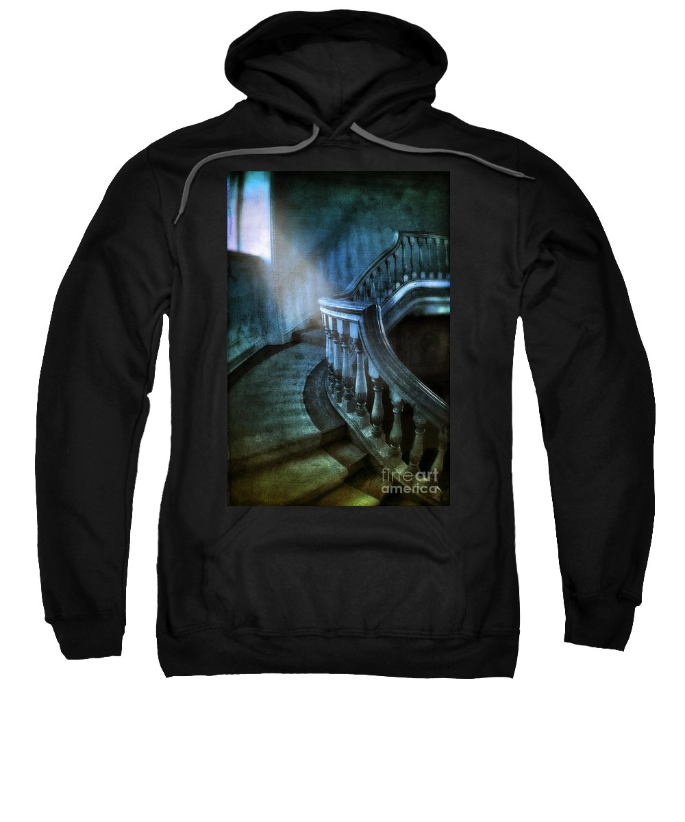 Stairs Sweatshirt featuring the photograph Mysterious Stairway In Old Mansion by Jill Battaglia