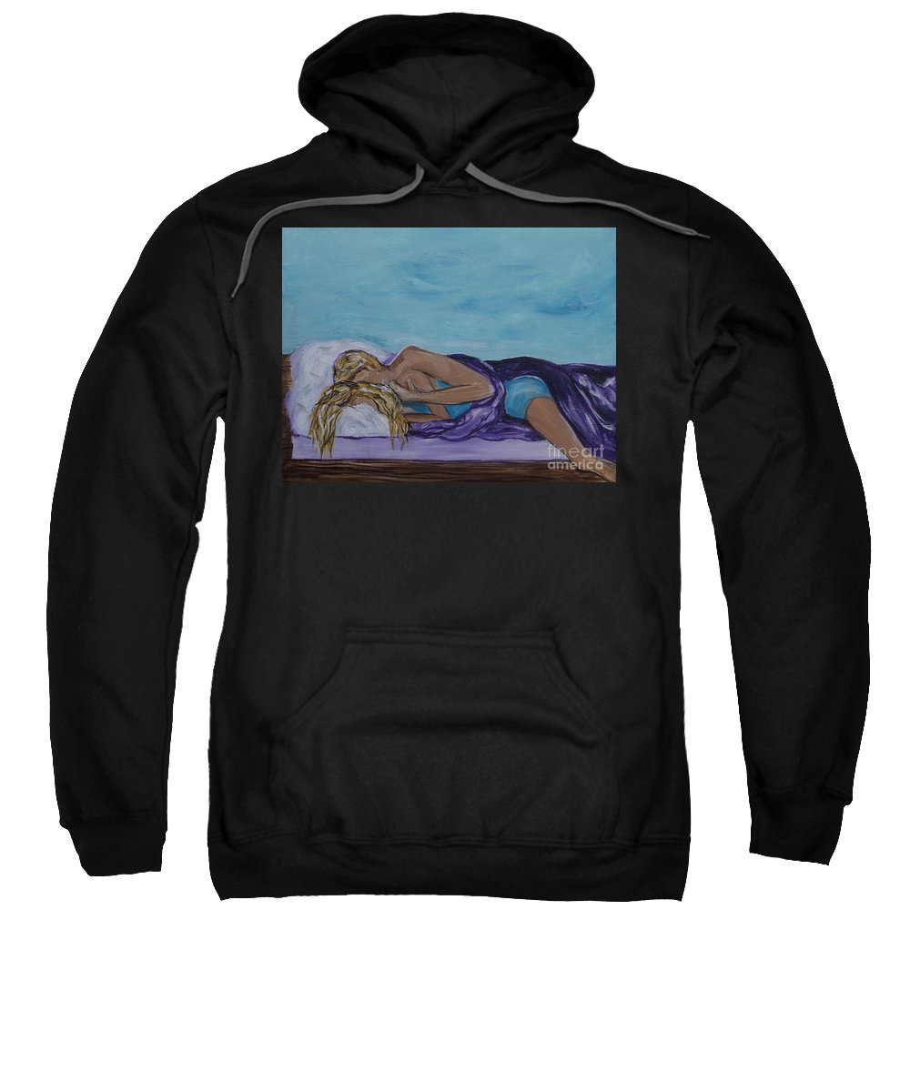Couple Canvas Print Sweatshirt featuring the painting Napping On The Deck by Leslie Allen