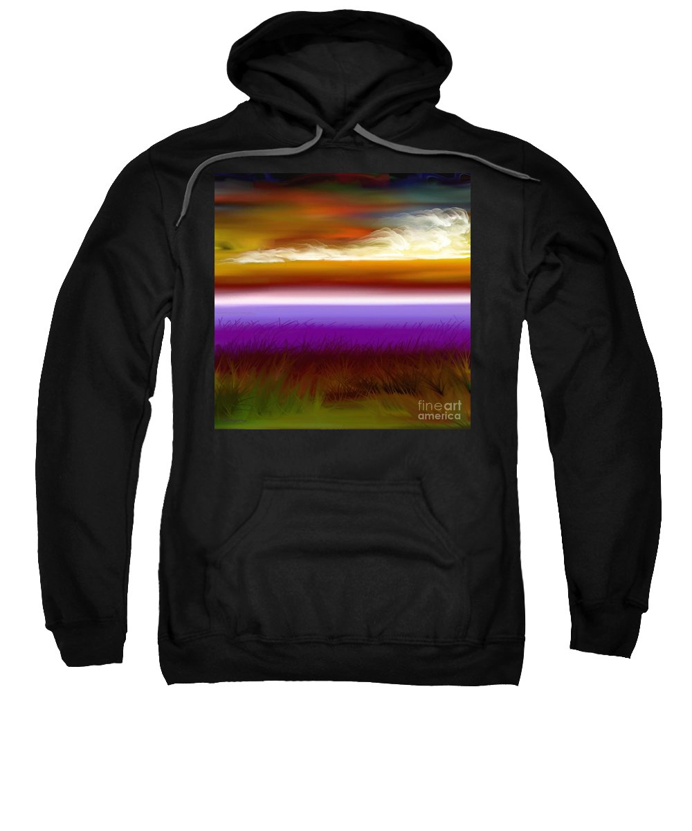 Beach Sweatshirt featuring the digital art Night Falls by Greg Moores