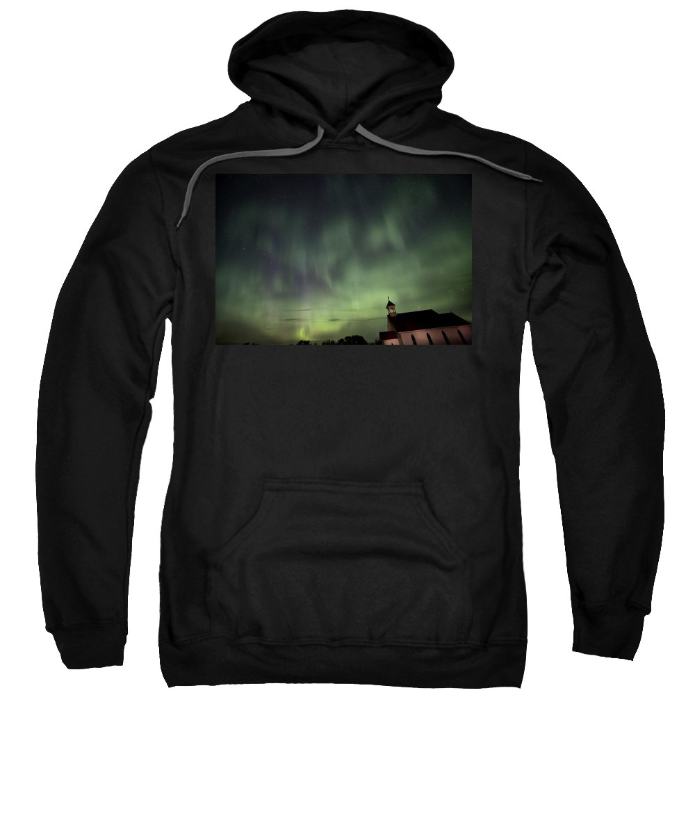 Sky Sweatshirt featuring the photograph Night Shot Northern Lights Country Church by Mark Duffy