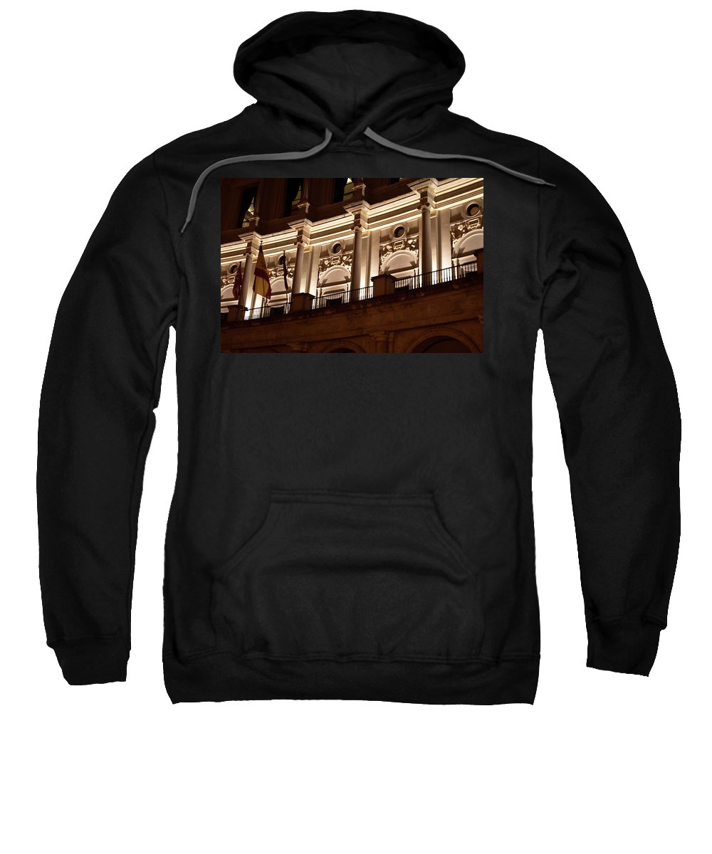 Madrid Sweatshirt featuring the photograph Nighttime Palace by Lorraine Devon Wilke