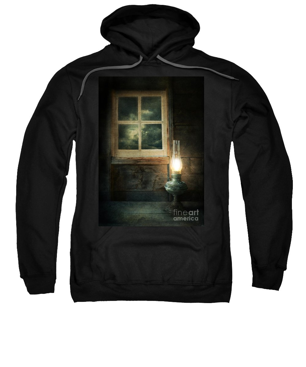 House Sweatshirt featuring the photograph Oil Lamp On Table By Window by Jill Battaglia