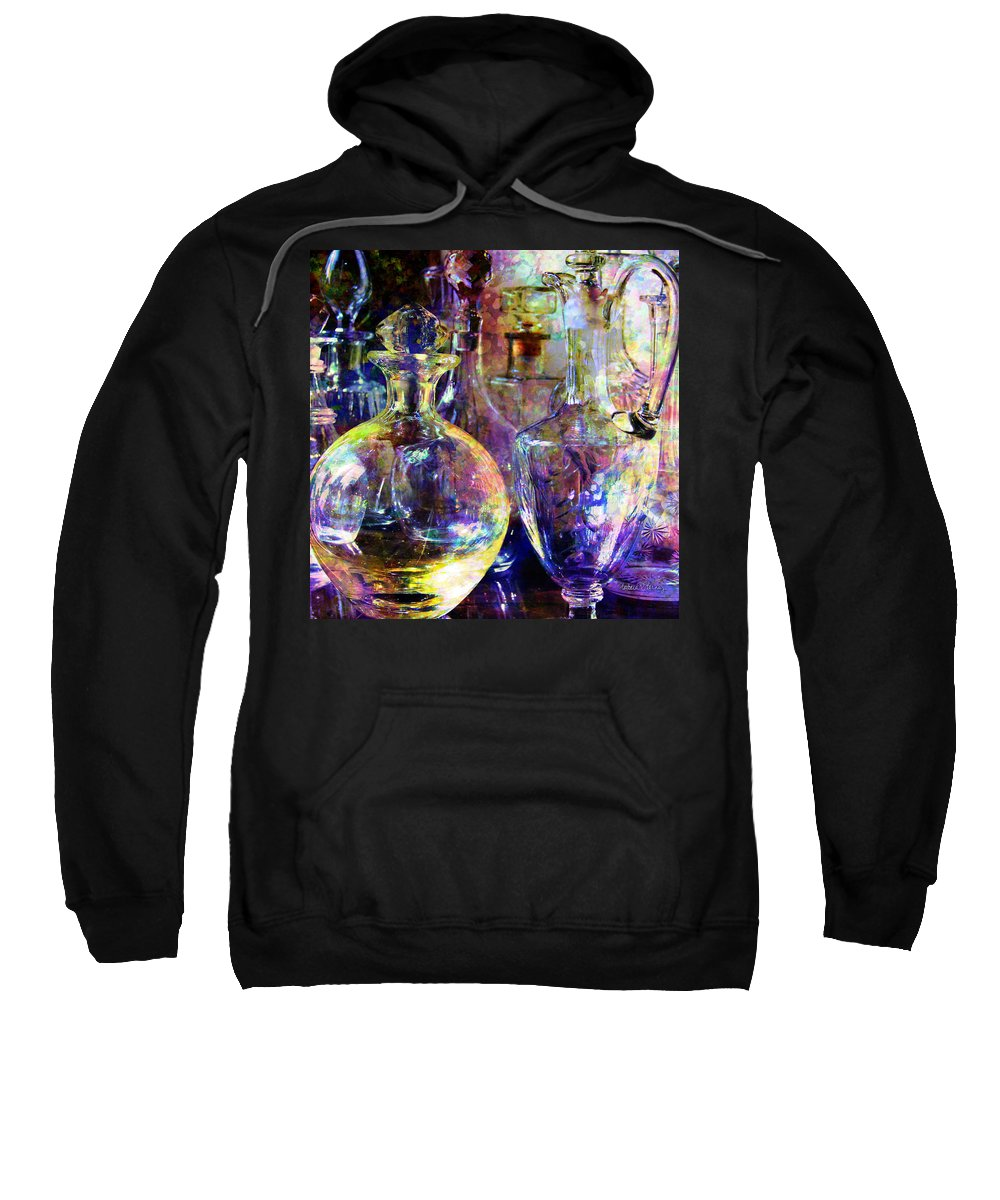 Glass Sweatshirt featuring the digital art Old Decanters by Barbara Berney