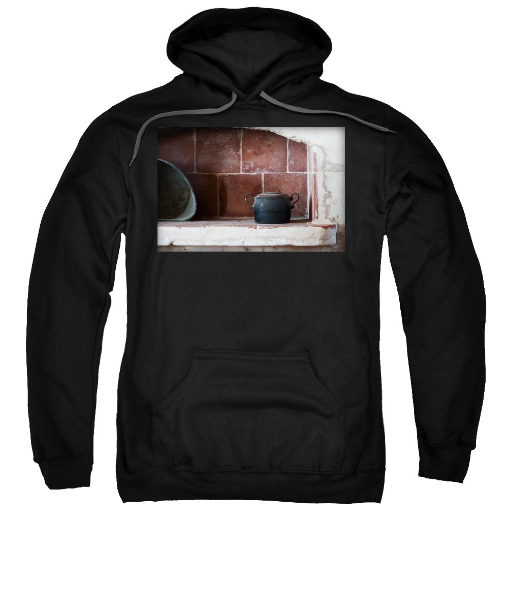 Scene Sweatshirt featuring the photograph old kitchen - A part of a traditional kitchen with a vintage metal pot by Pedro Cardona Llambias