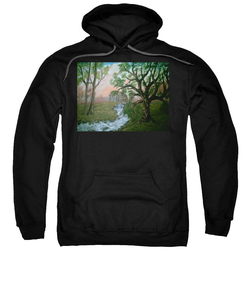 Rivers Strems Sweatshirt featuring the painting Old Mill by Jim Saltis