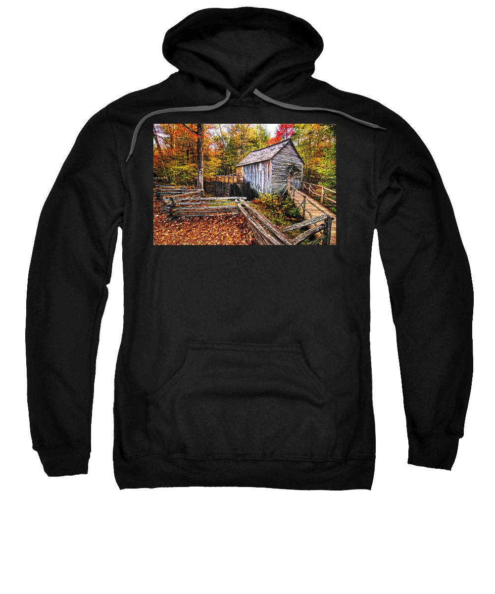 Old Mill Sweatshirt featuring the photograph old mill Smoky Mountains by Randall Branham