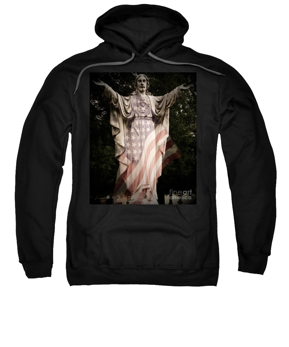 Statue Sweatshirt featuring the photograph One Nation Under God by Charleen Treasures
