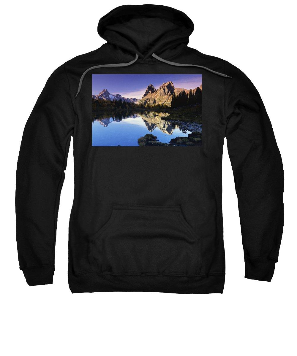 Blue Sky Sweatshirt featuring the photograph Opabin Lakes In Yoho National Park by Bilderbuch