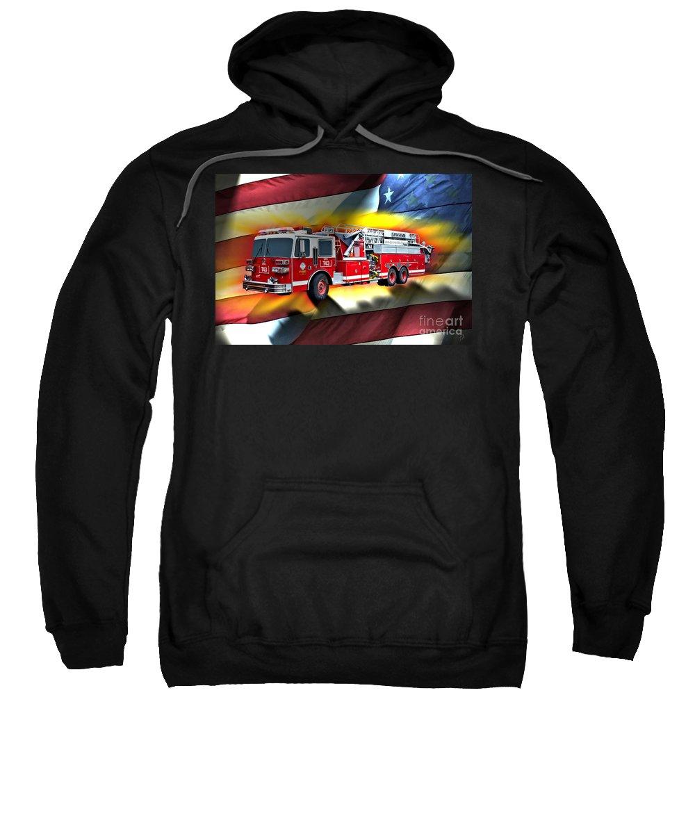 Sutphen Sweatshirt featuring the digital art Orange Fire Auth T43 by Tommy Anderson