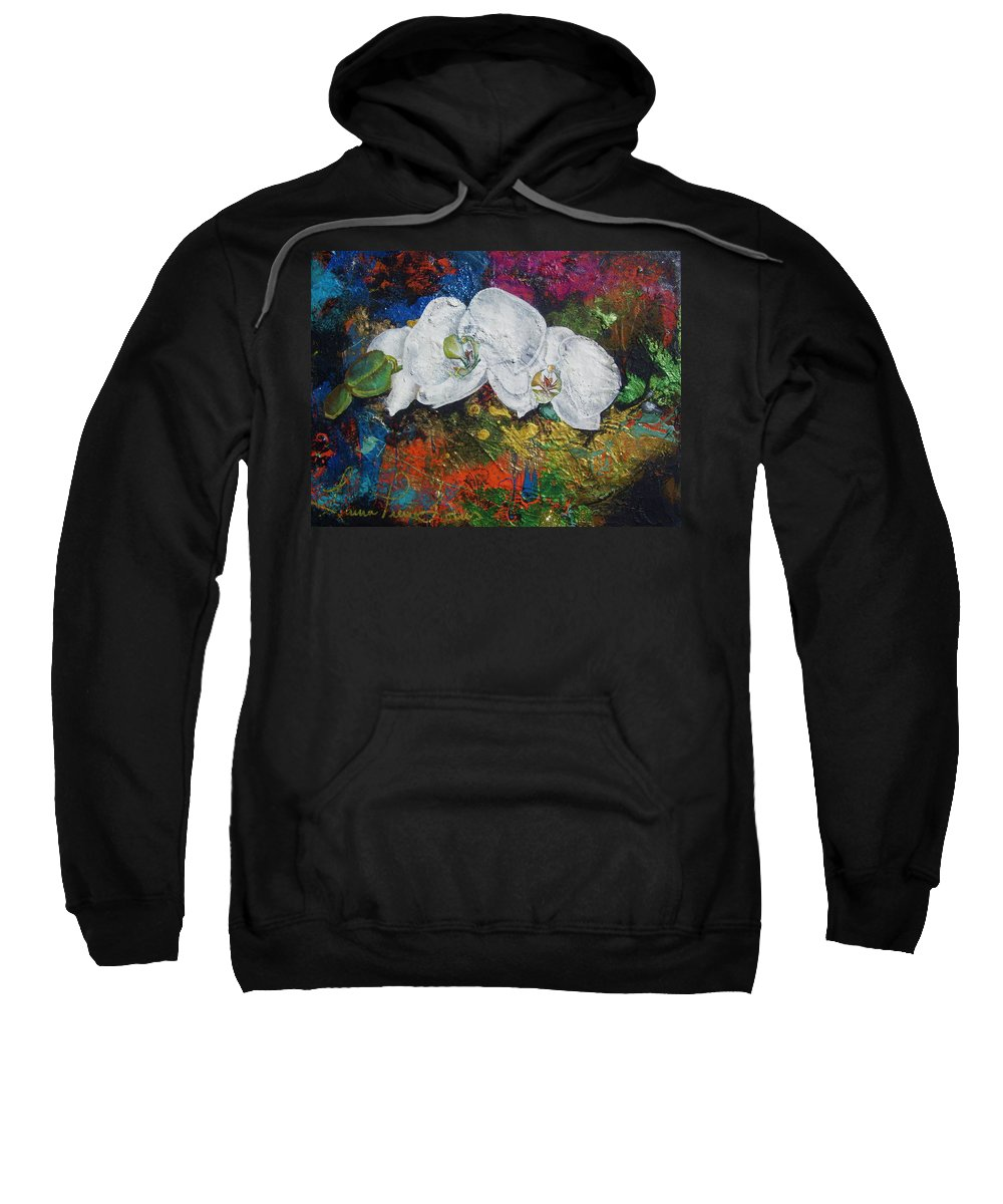 Orchid Sweatshirt featuring the painting Orchid Mini by Laura Pierre-Louis