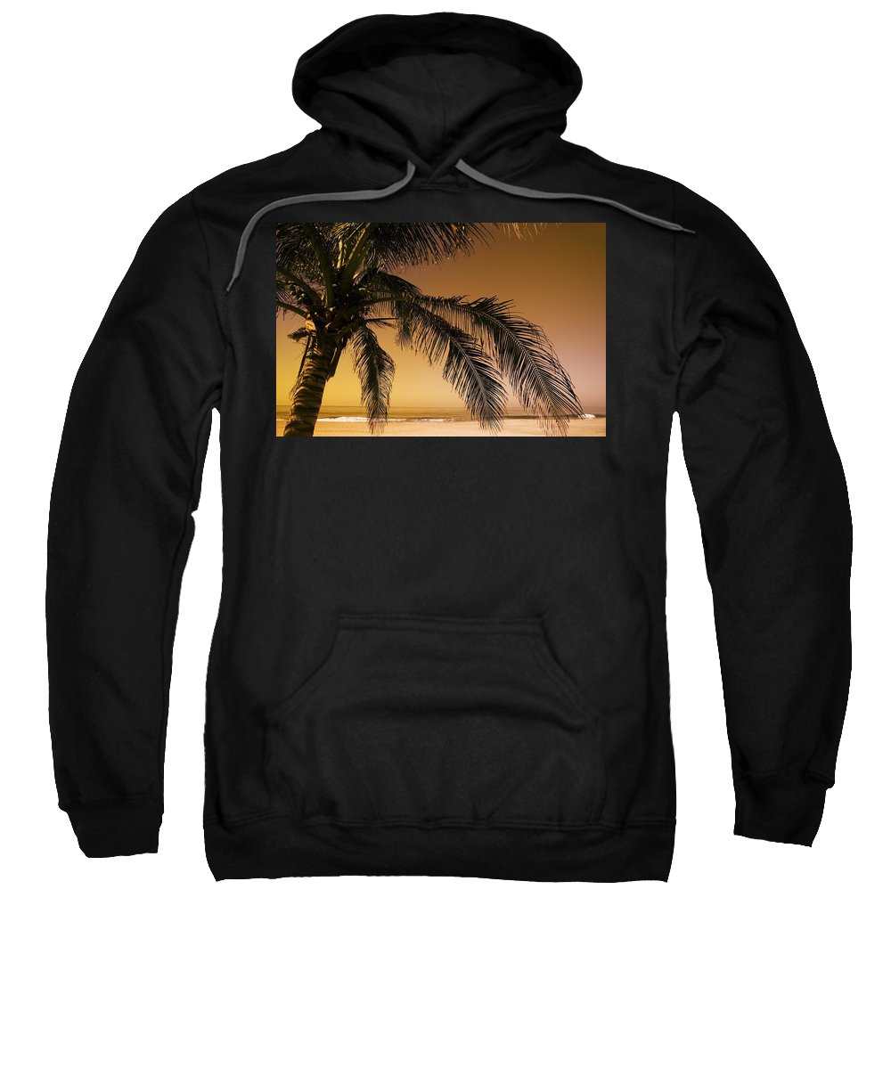 Beaches Sweatshirt featuring the photograph Palm Tree And Sunset In Mexico by Darren Greenwood