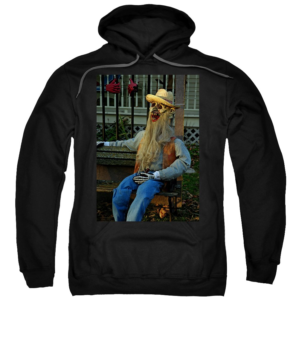 Usa Sweatshirt featuring the photograph Park Bench Ghoul by LeeAnn McLaneGoetz McLaneGoetzStudioLLCcom