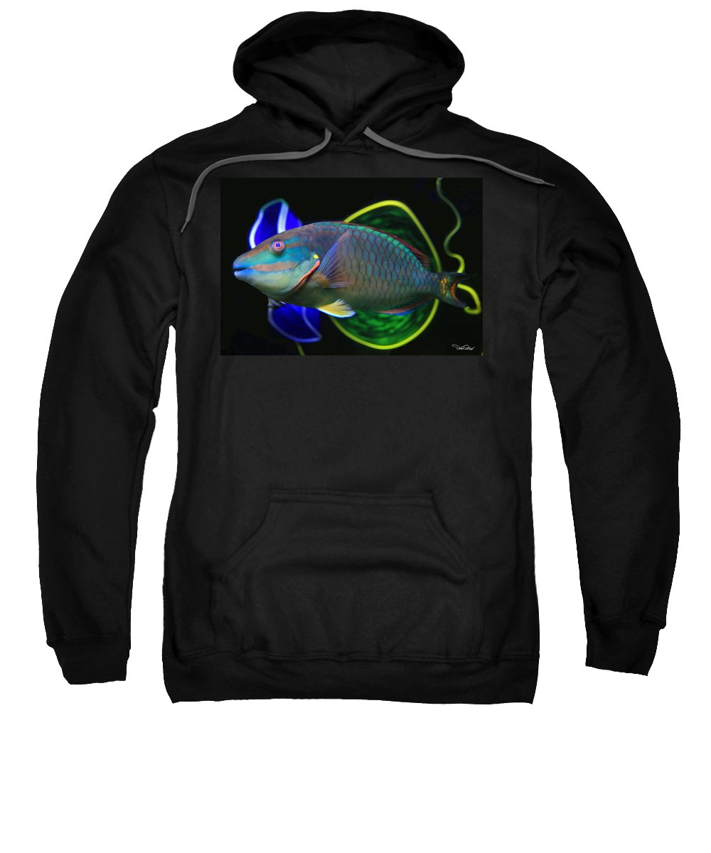 Parrot Fish Sweatshirt featuring the photograph Parrot Fish With Glass Art by David Salter
