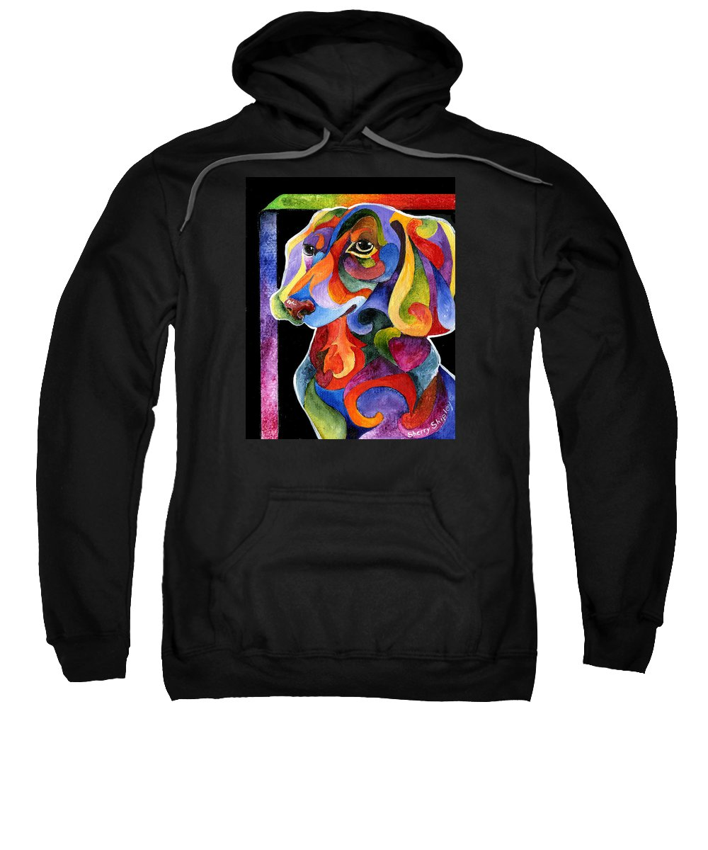 Dog Sweatshirt featuring the painting Party Doxy by Sherry Shipley