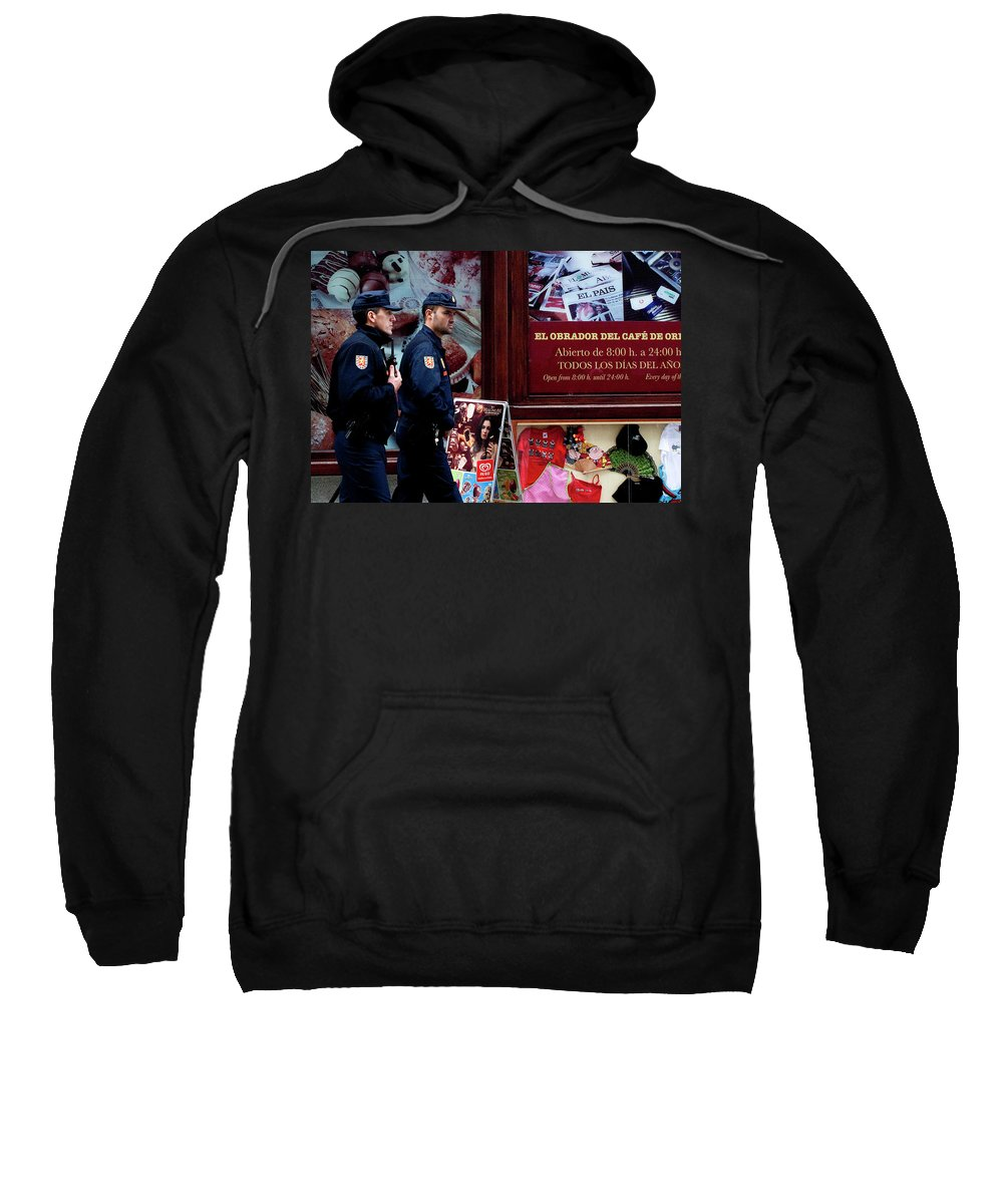 Madrid Sweatshirt featuring the photograph Passing Plaza Police by Lorraine Devon Wilke