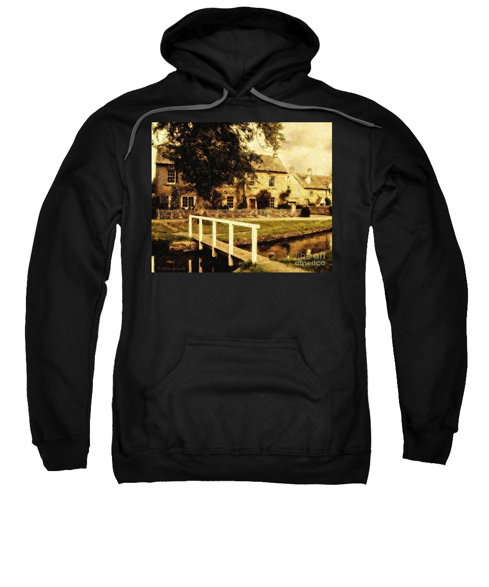 England Sweatshirt featuring the digital art Passing Through The Cotswolds by Lianne Schneider