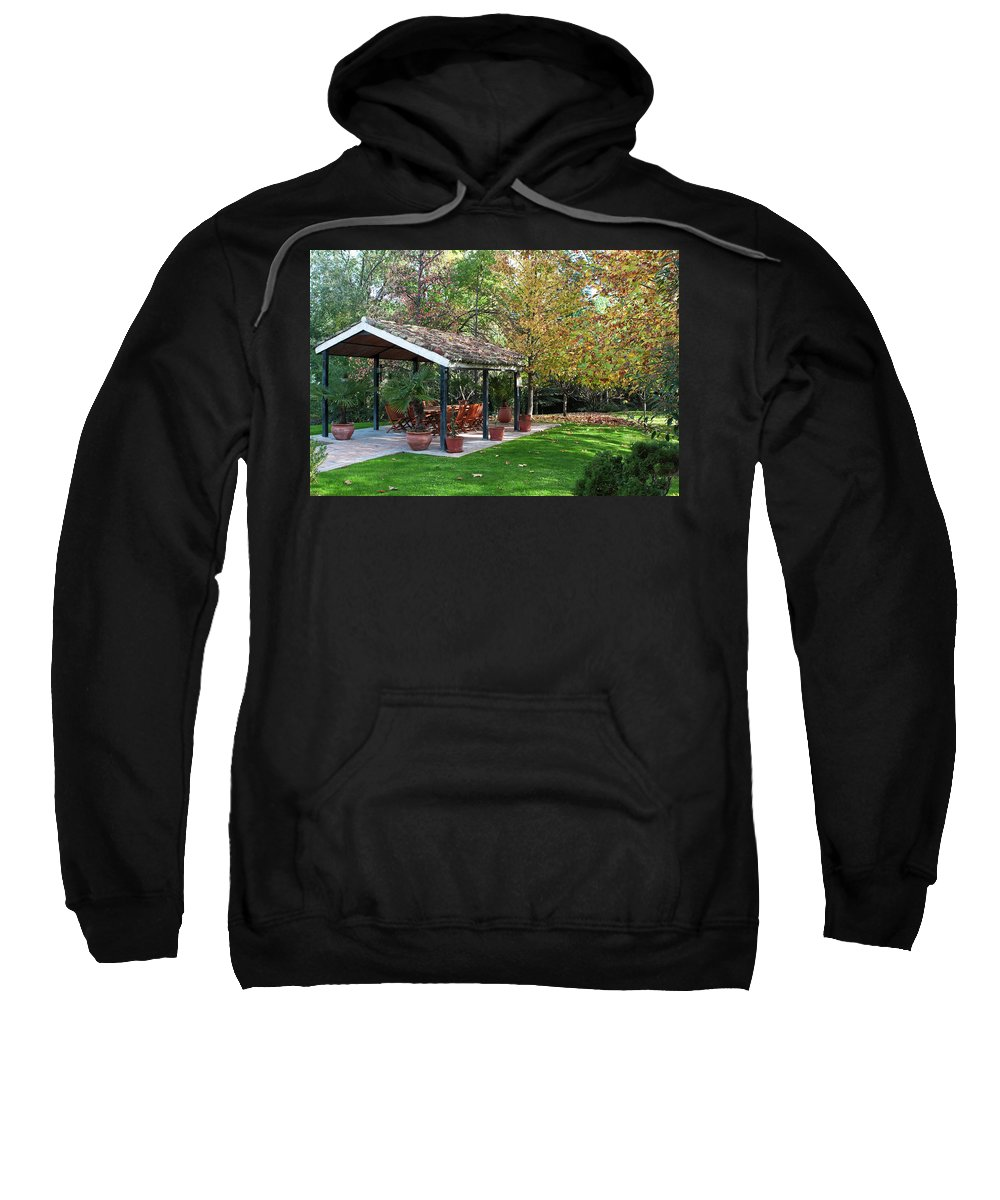 Madrid Sweatshirt featuring the photograph Patio Dining Madrid by Lorraine Devon Wilke