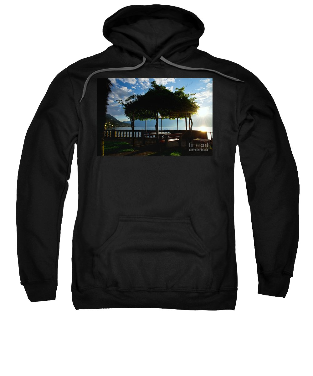 Patio Sweatshirt featuring the photograph Patio In Backlight by Mats Silvan