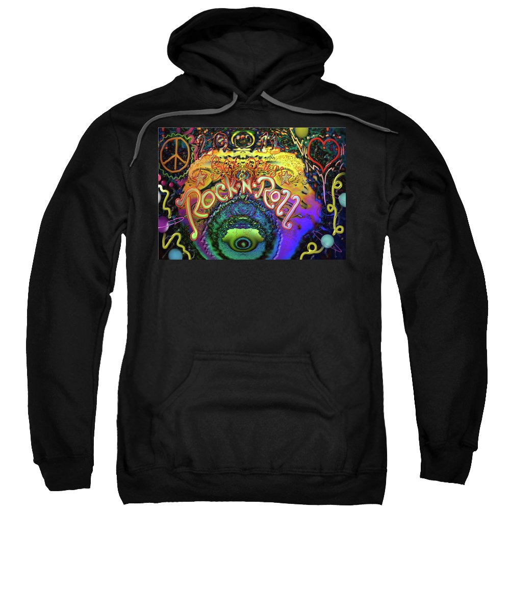 Hearts Sweatshirt featuring the digital art Peace Love And Rock N Roll by Kevin Caudill