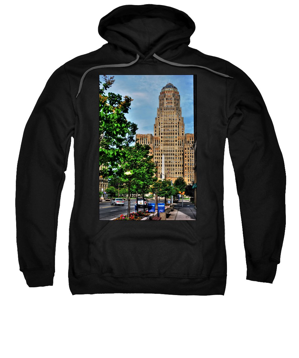 Sweatshirt featuring the photograph Pedestrian View Of City Hall Vert by Michael Frank Jr