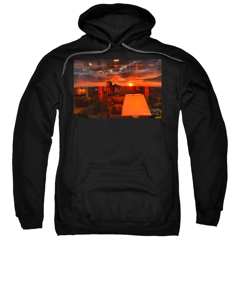 Mckeever Lodge Sunset Sweatshirt featuring the photograph Pipestem Sunset by Adam Jewell