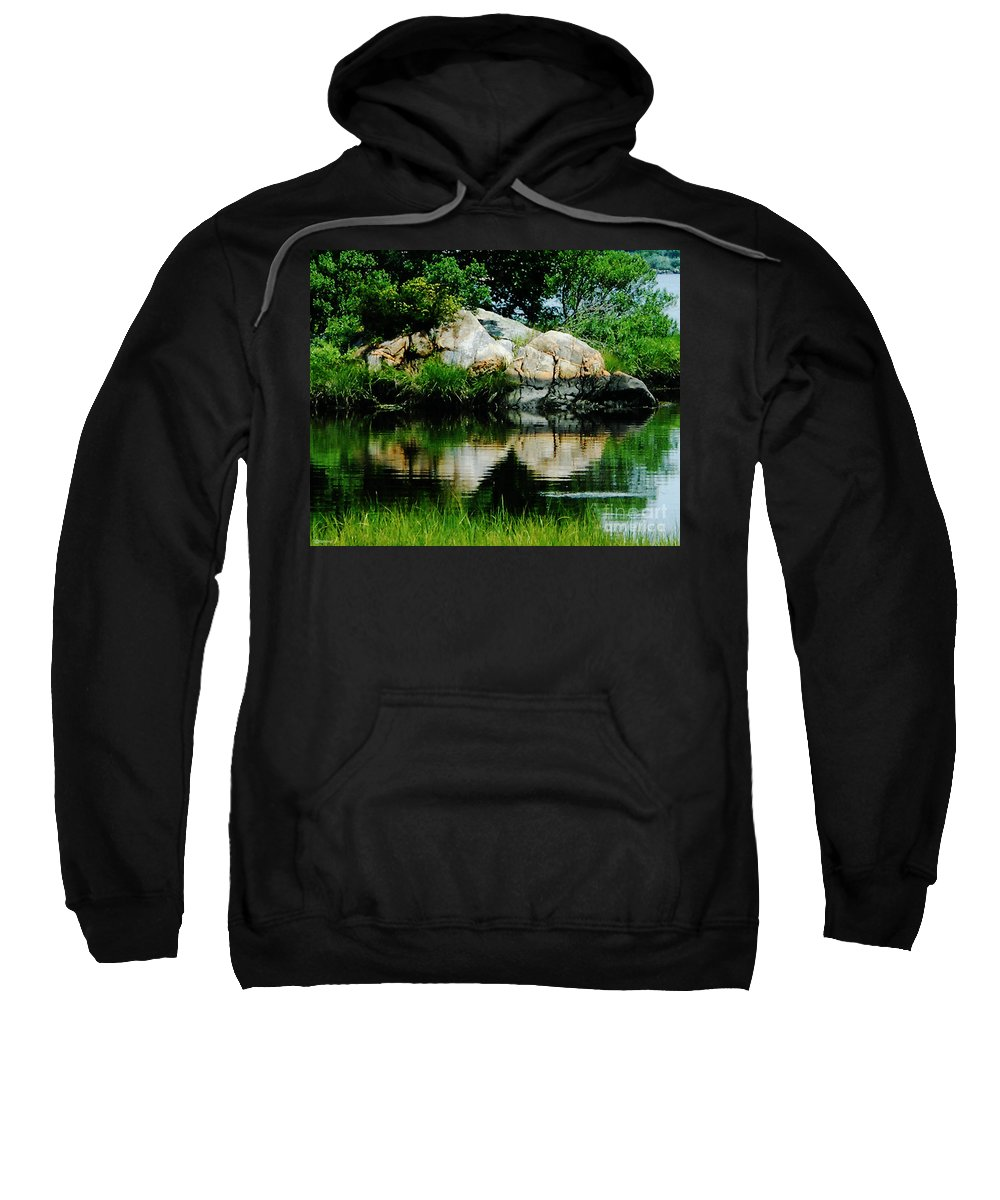 New England Sweatshirt featuring the photograph Pool In Marsh At Mystic Ct by Lizi Beard-Ward