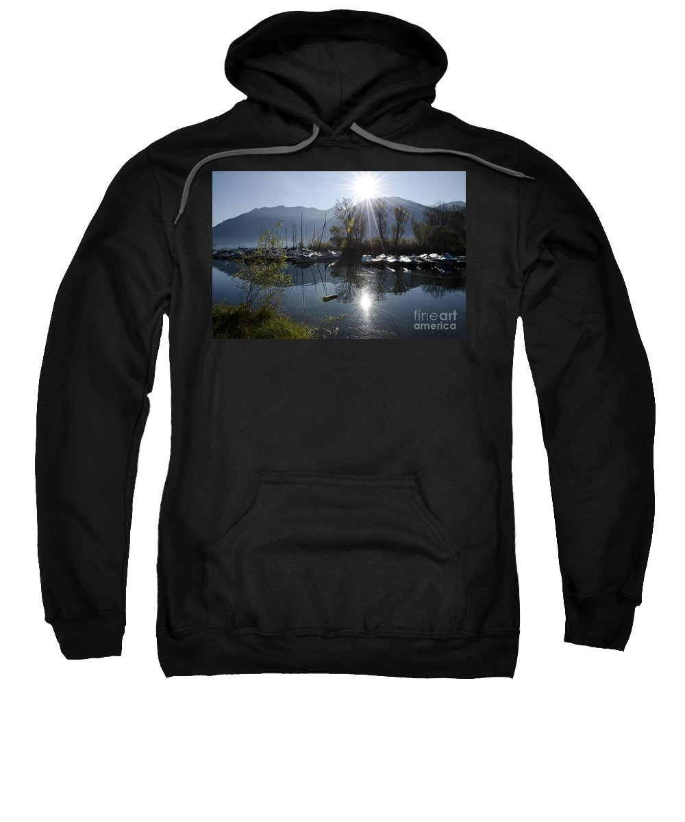 Port Sweatshirt featuring the photograph Port In Backlight by Mats Silvan