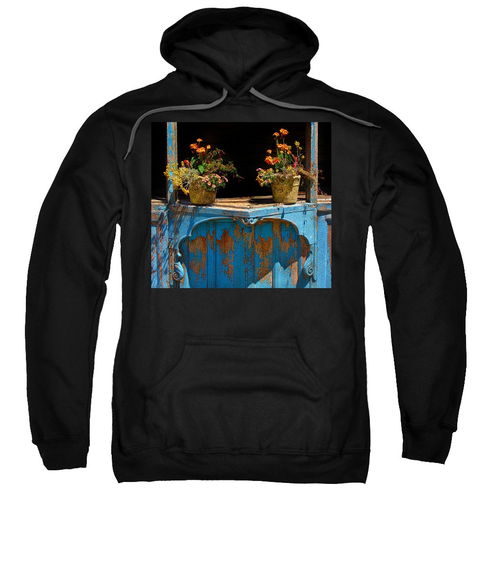 Flower Pots Sweatshirt featuring the photograph Pots Over Peeling Paint by Dave Mills